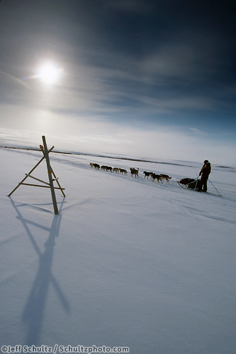 J.King on Trail in Topkok Hills Between Safety & Nome.2004 Iditarod