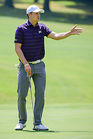 Jordan Spieth (USA) reacts to missing a putt on 1 during round 1 of the World Golf Championships, Mexico, Club De Golf Chapultepec, Mexico City, Mexico. 3/2/2017.<br /> Picture: Golffile | Ken Murray<br /> <br /> <br /> All photo usage must carry mandatory copyright credit (&copy; Golffile | Ken Murray)