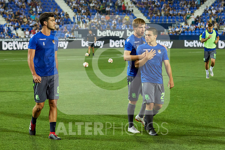 Real Sociedad's Mikel Merino (l), Jon Bautista (c) and Luca Sangalli (r) during La Liga match. August 24, 2018. (ALTERPHOTOS/A. Perez Meca)