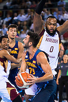 Spain's basketball player Ricky Rubio and Venezuela's basketball player Gregory Echenique during the  match of the preparation for the Rio Olympic Game at Madrid Arena. July 23, 2016. (ALTERPHOTOS/BorjaB.Hojas) /NORTEPHOTO.COM