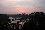 Sunset,over Madre de Dios River, edge of Jungle Forest, Primary Rainforest, Manu, Peru, Amazonian, orange colours, canopy, silhouette. .South America....