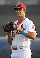 Outfielder Gary Apelian (27) of the Johnson City Cardinals, Appalachian League affiliate of the St. Louis Cardinals, prior to a game against the Danville Braves on August 19, 2011, at Howard Johnson Field in Johnson City, Tennessee. Danville defeated Johnson City, 5-4, in 16 innings. (Tom Priddy/Four Seam Images)