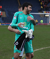 Blackburn Rovers' Adam Armstrong and Blackburn Rovers' David Raya celebrate at the end of todays match<br /> <br /> Photographer Rachel Holborn/CameraSport<br /> <br /> The EFL Sky Bet League One - Blackburn Rovers v Blackpool - Saturday 10th March 2018 - Ewood Park - Blackburn<br /> <br /> World Copyright &copy; 2018 CameraSport. All rights reserved. 43 Linden Ave. Countesthorpe. Leicester. England. LE8 5PG - Tel: +44 (0) 116 277 4147 - admin@camerasport.com - www.camerasport.com