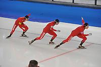 SCHAATSEN: BERLIJN: Sportforum, 07-12-2013, Essent ISU World Cup, Team Pursuit, Simen Spieler Nilsen, Sverre Lunde Pedersen, Håvard Bøkko (NOR), ©foto Martin de Jong