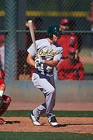 Oakland Athletics Justin Higley (17) during an instructional league game against the Los Angeles Angels on October 9, 2015 at the Tempe Diablo Stadium Complex in Tempe, Arizona.  (Mike Janes/Four Seam Images)