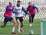 Atletico de Madrid's Jose Maria Gimenez, Saul Niguez and Koke Resurreccion during training session. June 4,2020.(ALTERPHOTOS/Atletico de Madrid/Pool)