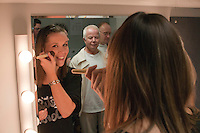 """Choreographer, Hannah Greenslade, does her make up.  Special Olympics Surrey put on a show,   """"Beyond the Stars"""", at the Rose Theatre, Kingston upon Thames to raise money for the  SOGB team.  The Special Olympics are for athletes with learning disabilities."""