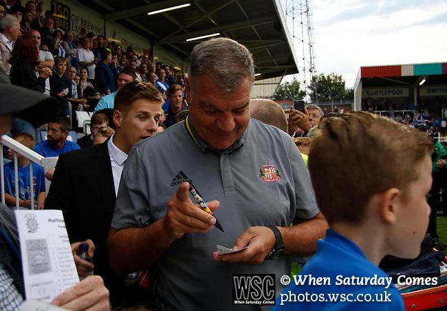 Hartlepool United 0 Sunderland 3, 20/07/2016. Victoria Park, Pre Season Friendly. Sam Allardyce Manager of Sunderland signing autographs before the game. Photo by Paul Thompson.