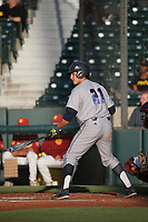 Mikey Duarte (21) of the UC Irvine Anteaters bats against the Southern California Trojans at Dedeaux Field on April 18, 2017 in Los Angeles, California. UC Irvine defeated Southern California, 14-3. (Larry Goren/Four Seam Images)