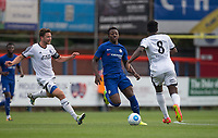 Benny Ashley-Seal of Chelsea holds off Callum Reynolds (left) of Aldershot Town during the pre season friendly match between Aldershot Town and Chelsea U23 at the EBB Stadium, Aldershot, England on 19 July 2017. Photo by Andy Rowland / PRiME Media Images.