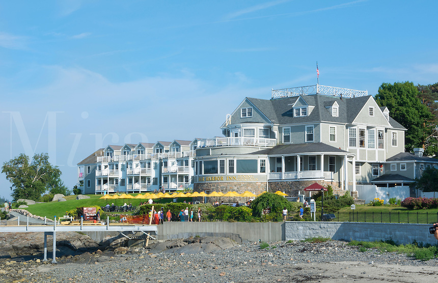 Bar Harbor Maine famous excclusive and expensive Bar Harbor Inn with buildings and tourists in summer