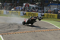 09.09.2012.  F1 Grand Prix of Italy Race Day Monza Jean Eric Vergne slides on to the grass and his car takes to the air over the kerbs