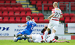 St Johnstone v Hamilton Accies...10.05.11.Mark McLaughlin brings down Andy Jackson for a penalty.Picture by Graeme Hart..Copyright Perthshire Picture Agency.Tel: 01738 623350  Mobile: 07990 594431
