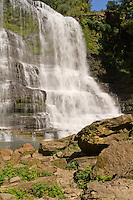 The Falling Water River drops 136' over Burgess Falls lower falls viewed from below the falls.