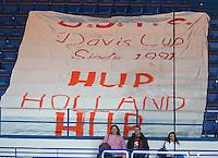 02-02-14,Czech Republic, Ostrava, Cez Arena, Davis Cup Czech Republic vs Netherlands, Dutch Banner<br /> Photo: Henk Koster