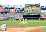 Hideki Matsui,<br /> JULY 28, 2013 - MLB :<br /> Hideki Matsui throws out the ceremonial first pitch to catcher Chris Stewart of the New York Yankees as New York Yankees starting pitcher Phil Hughes looks on during Matsui's official retirement ceremony before the Major League Baseball game against the Tampa Bay Rays at Yankee Stadium in The Bronx, New York, United States. (Photo by AFLO)
