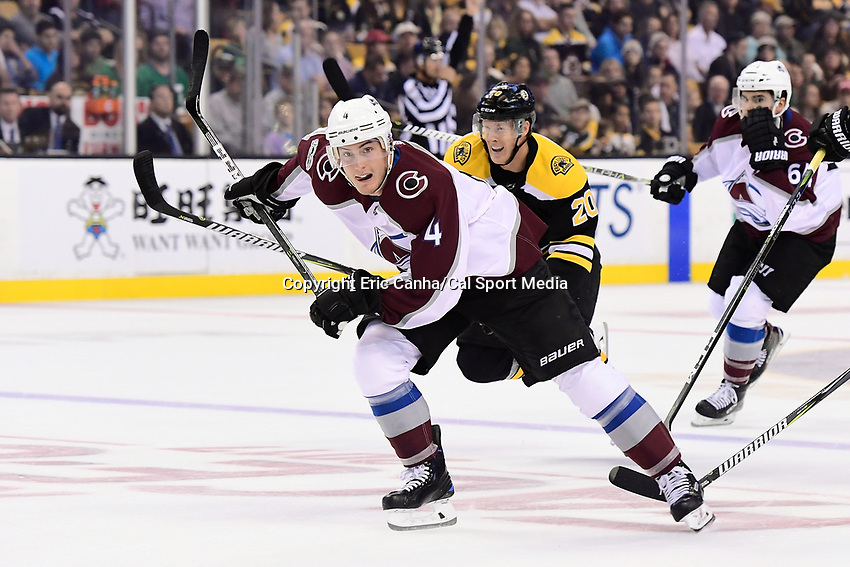 October 9, 2017: Colorado Avalanche defenseman Tyson Barrie (4) races to the puck during the NHL game between the Colorado Avalanche and the Boston Bruins held at TD Garden, in Boston, Mass. Colorado defeats Boston 4-0. Eric Canha/CSM