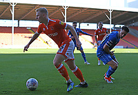Blackpool's Callum Guy escapes the attentions of Rochdale's Callum Camps<br /> <br /> Photographer Stephen White/CameraSport<br /> <br /> The EFL Sky Bet League One - Blackpool v Rochdale - Saturday 6th October 2018 - Bloomfield Road - Blackpool<br /> <br /> World Copyright &copy; 2018 CameraSport. All rights reserved. 43 Linden Ave. Countesthorpe. Leicester. England. LE8 5PG - Tel: +44 (0) 116 277 4147 - admin@camerasport.com - www.camerasport.com