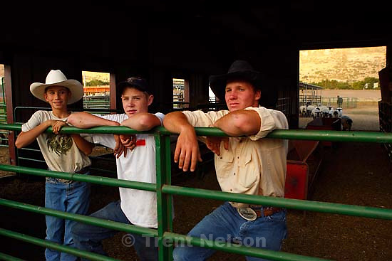 Farmington -  left to right: Bryan Maxfield, Trevor Bass, Jesse Petersen in the barn with lambs they are raising for the Junior livestock market program at the Utah State Fair. Buying an animal that has been raised by a local youth is a good way for people to buy local food and to fill their freezer with quality beef, lamb or pork at a reasonable price. Please meet Kathy at Kelly Maxfield's house in Farmington. His 10-year-old son Bryan, plus a few other kids from their 4-H group will be there feeding their animals that will be auctioned at this year's Utah State Fair.