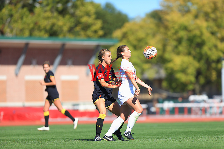 The Ohio State University women's Soccer team defeat Maryland in the second overtime 2-1. September 11, 2015. Columbus, OH. Jesse Owens Field