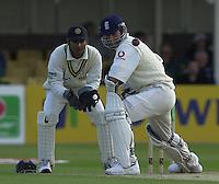 31/05/2002.Sport -Cricket - 2nd NPower Test -Second Day.England vs Sri Lanka.Michael Vaughan batting with Kumar Sanakkara keeping wicket . [Mandatory Credit Peter Spurrier:Intersport Images]
