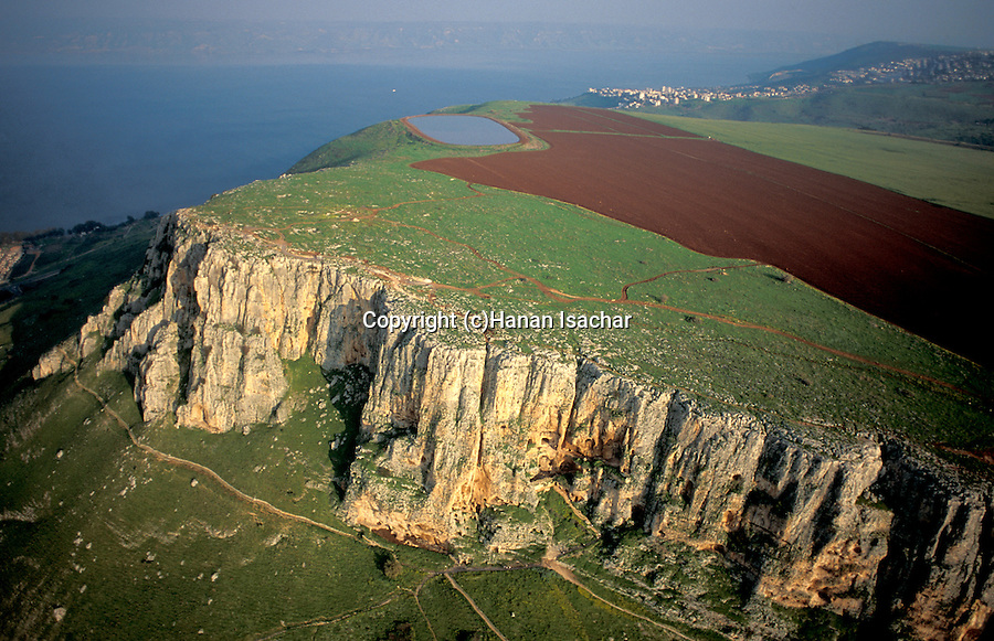 Israel, Lower Galilee, Mount Arbel overlooking the Sea of Galilee, an aerial view