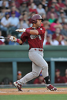 Dom Thompson-Williams (42) of the South Carolina Gamecocks bats in a game against the Furman Paladins on Wednesday, April 20, 2016, at Fluor Field at the West End in Greenville, South Carolina. (Tom Priddy/Four Seam Images)