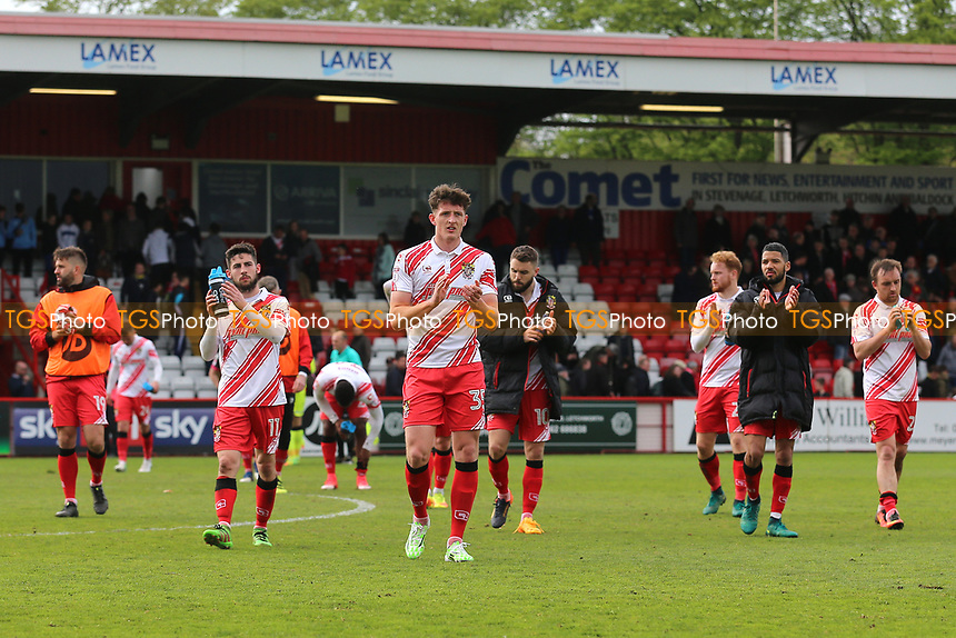 Stevenage players thank the home fans during Stevenage vs Morecambe, Sky Bet EFL League 2 Football at the Lamex Stadium on 14th April 2017
