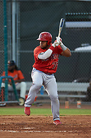 AZL Angels Raider Uceta (75) at bat during a game against the AZL Giants Orange at Giants Baseball Complex on June 17, 2019 in Scottsdale, Arizona. AZL Giants Orange defeated AZL Angels 8-4. (Zachary Lucy/Four Seam Images)
