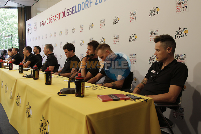 BMC Racing Team press conference before the 104th edition of the Tour de France 2017, Dusseldorf, Germany. 29th June 2017.<br /> Picture: Eoin Clarke   Cyclefile<br /> <br /> <br /> All photos usage must carry mandatory copyright credit (&copy; Cyclefile   Eoin Clarke)