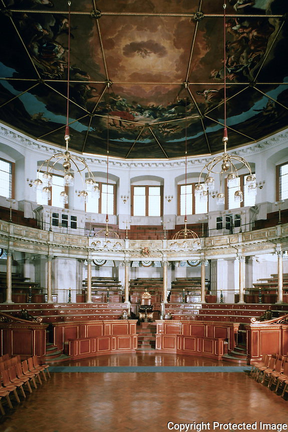 Sir Christopher Wren: Sheldonian Theatre, Oxford 1666. Interior. Ref. only.