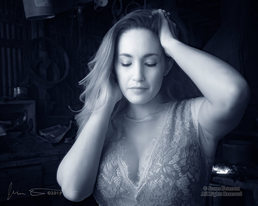 Cherie #1 (Infrared) ©2019 James D Peterson.  Cherie is another beautiful model who participated in the Gold King Mine photo workshop organized by Red Bench Studio in Jerome, Arizona.  She shows us how elegant someone can look when photographed in infrared light.  And she found the perfect place for a pose: the blacksmith shop!
