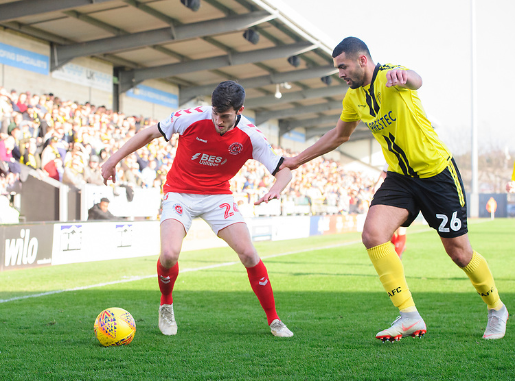 Fleetwood Town's Ashley Nadesan vies for possession with Burton Albion's Colin Daniel<br /> <br /> Photographer Chris Vaughan/CameraSport<br /> <br /> The EFL Sky Bet League One - Saturday 23rd February 2019 - Burton Albion v Fleetwood Town - Pirelli Stadium - Burton upon Trent<br /> <br /> World Copyright © 2019 CameraSport. All rights reserved. 43 Linden Ave. Countesthorpe. Leicester. England. LE8 5PG - Tel: +44 (0) 116 277 4147 - admin@camerasport.com - www.camerasport.com