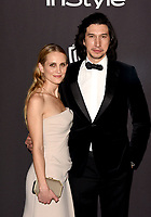 LOS ANGELES, CALIFORNIA - JANUARY 06: Joanne Tucker and Adam Driver attend the Warner InStyle Golden Globes After Party at the Beverly Hilton Hotel on January 06, 2019 in Beverly Hills, California. <br /> CAP/MPI/IS<br /> &copy;IS/MPI/Capital Pictures