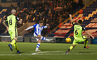 Sammie Szmodics of Colchester United fires a stunning opening goal from outside the box during Colchester United vs Exeter City, Sky Bet EFL League 2 Football at the JobServe Community Stadium on 24th November 2018