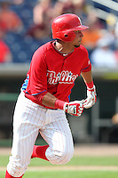 Philadelphia Phillies shortstop Freddy Galvis #13 during a scrimmage against the Florida State Seminoles at Brighthouse Field on February 29, 2012 in Clearwater, Florida.  Philadelphia defeated Florida State 6-1.  (Mike Janes/Four Seam Images)