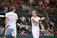 Switserland, Genève, September 19, 2015, Tennis,   Davis Cup, Switserland-Netherlands, Doubles: Dutch team Matwe Middelkoop/Thiemo de Bakker (R)  photo 9<br /> Photo: Tennisimages/Henk Koster