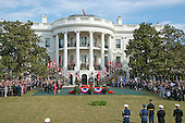 United States President Barack Obama and First Lady Michelle Obama host an Arrival Ceremony opening the Official Visit of Prime Minister Justin Trudeau of Canada, and Mrs. Sophie Gr&eacute;goire Trudeau on the South Lawn of the White House in Washington, DC on Thursday, March 10, 2016. <br /> Credit: Ron Sachs / CNP
