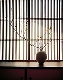 JAPAN, Kyushu, detail of window and pottery, Yoyokaku Ryokan