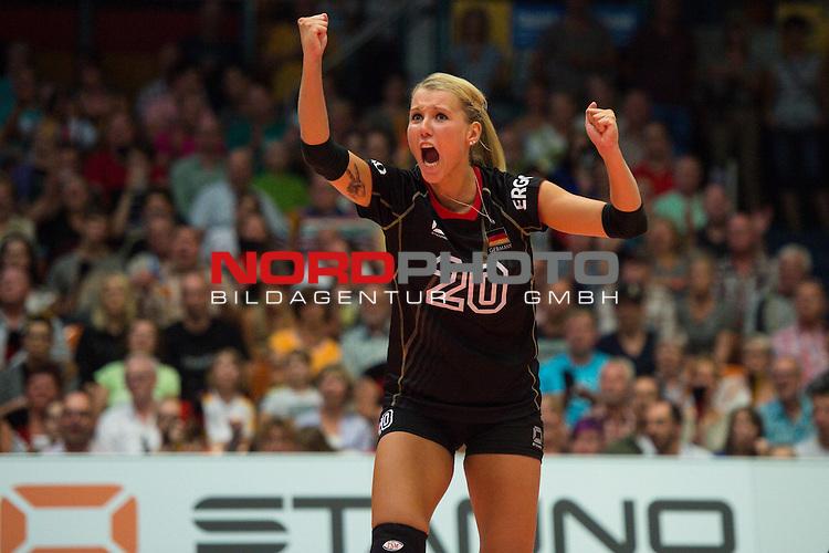 11.07.2014, Anhalt Arena, Dessau<br /> Volleyball, European League 2014, Deutschland vs. Griechenland<br /> <br /> Jubel Mareen Apitz (#20 GER)<br /> <br />   Foto &copy; nordphoto / Kurth