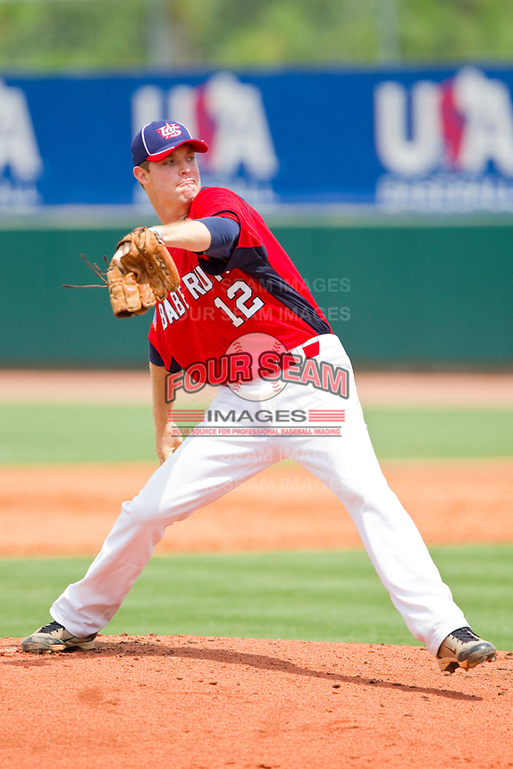 James Marvel #12 of Babe Ruth in action against PONY at the 2011 Tournament of Stars at the USA Baseball National Training Center on June 25, 2011 in Cary, North Carolina.  Babe Ruth defeated PONY by the score of 10-9. (Brian Westerholt/Four Seam Images)