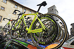 Yellow Fluo team Cipollini bikes on the team car at sign on in San Gimignano before the start of the 2014 Strade Bianche race over the white dusty gravel roads of Tuscany, Italy. 8th March 2014.<br /> Picture: Eoin Clarke www.newsfile.ie