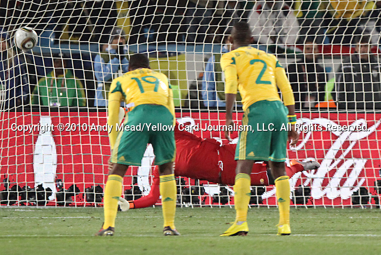 16 JUN 2010:  Diego Forlan (URU)(10)(not pictured) scores a penalty kick goal against Moneeb Josephs (RSA)(diving).  The South Africa National Team were defeated bythe Uruguay National Team 0-3 at Loftus Versfeld Stadium in Tshwane/Pretoria, South Africa in a 2010 FIFA World Cup Group A match.
