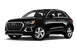 Stock pictures of low aggressive front three quarter view of a 2019 Audi Q3 Premium Plus 5 Door SUV