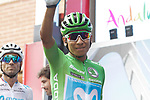 Green Jersey Nairo Quintana (COL) Movistar Team at sign on before the start of Stage 3 of La Vuelta 2019 running 188km from Ibi. Ciudad del Juguete to Alicante, Spain. 26th August 2019.<br /> Picture: Colin Flockton | Cyclefile<br /> <br /> All photos usage must carry mandatory copyright credit (© Cyclefile | Colin Flockton)