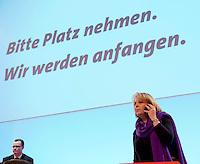 Landesparteitag der nordrhein-westfaelischen SPD am Freitag den 26. Februar 2010 in der Dortmunder Westfalenhalle.<br />Im Bild: Hannelore Kraft vor einer Grossleinwand mit dem Schriftzug &quot;Bitte Platz nehmen. Wir werden anfangen.&quot; Hannelore Kraft wurde mit 99 Prozent als Landesvorsitzende im Amt bestaetigt. Sie ist Spitzenkandidatin zur der Landttagswahl im Mai 2010.<br />Copyright: Christian-Ditsch.de<br />[Inhaltsveraendernde Manipulation des Fotos nur nach ausdruecklicher Genehmigung des Fotografen. Vereinbarungen ueber Abtretung von Persoenlichkeitsrechten/Model Release der abgebildeten Person/Personen liegen nicht vor. NO MODEL RELEASE! Don't publish without copyright Christian-Ditsch.de, Veroeffentlichung nur mit Fotografennennung, sowie gegen Honorar, MwSt. und Beleg. Konto: I N G - D i B a, IBAN DE58500105175400192269, BIC INGDDEFFXXX, Kontakt: post@christian-ditsch.de Urhebervermerk wird gemaess Paragraph 13 UHG verlangt.]