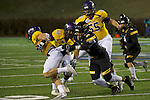SALEM, VA - DECEMBER 16:  Carson Embry (88) of the University of Mary Hardin-Baylor races past Jamier Szymanski (36) of the University of Wisconsin-Oshkosh during the Division III Men's Football Championship held at Salem Stadium on December 16, 2016 in Salem, Virginia.   Mary Hardin-Baylor defeated the University of Wisconsin-Oshkosh 10-7 for the national title. (Photo by Don Petersen/NCAA Photos via Getty Images)