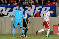 Harrison, NJ - Wednesday Feb. 22, 2017: David Ousted, Tim Parker during a Scotiabank CONCACAF Champions League quarterfinal match between the New York Red Bulls and the Vancouver Whitecaps FC at Red Bull Arena.