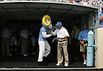 09 September 2006: North Carolina mascot Rameses (l) and head coach John Bunting (r) before the game. The University of North Carolina Tarheels lost 35-10 to the Virginia Tech Hokies at Kenan Stadium in Chapel Hill, North Carolina in an Atlantic Coast Conference NCAA Division I College Football game.