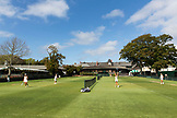 RHODE ISLAND, Newport, 4 Ladies enjoying the grass courts at Tennis Hall of Fame Club